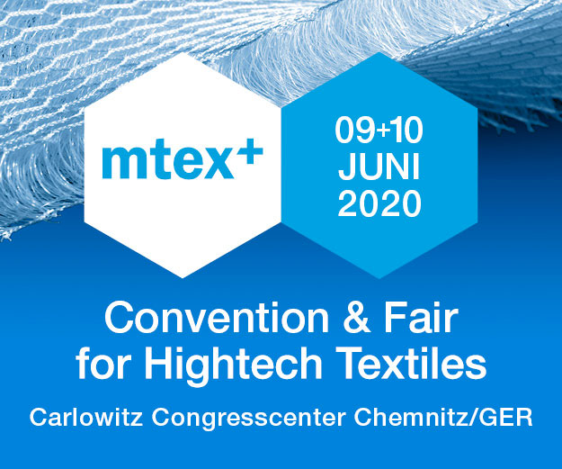 Anzeige mtex+ 2020 Convention & Fair for Hightech Textiles